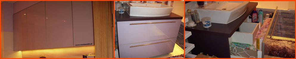 Meble łazienkowe wykończone szklem i aluminium